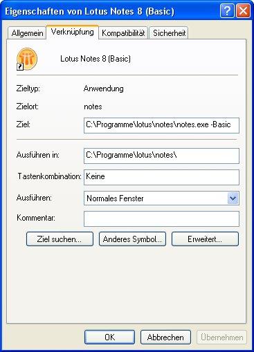 Image:Lotus Notes 8 Standard Client als Basic Client starten
